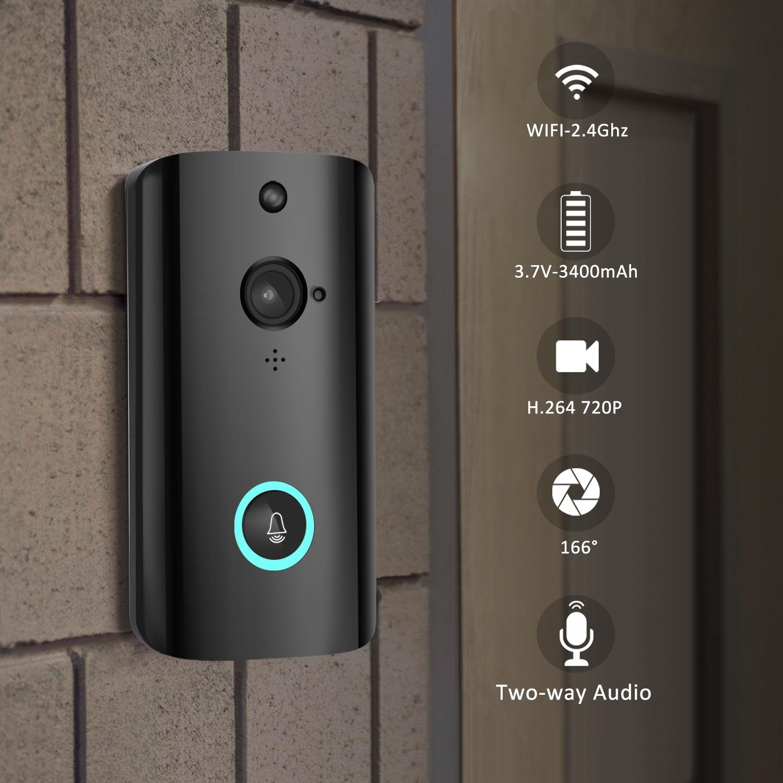 Wireless Smart WiFi Audio Video Door Bell Remote Phone Intercom  black