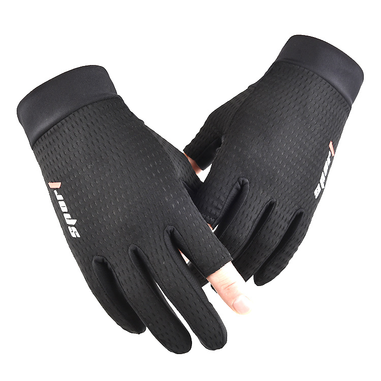Ice Silk Non-Slip Gloves Breathable Outdoor Sports Driving Riding Thin Anti-UV Protection Gloves black_One size