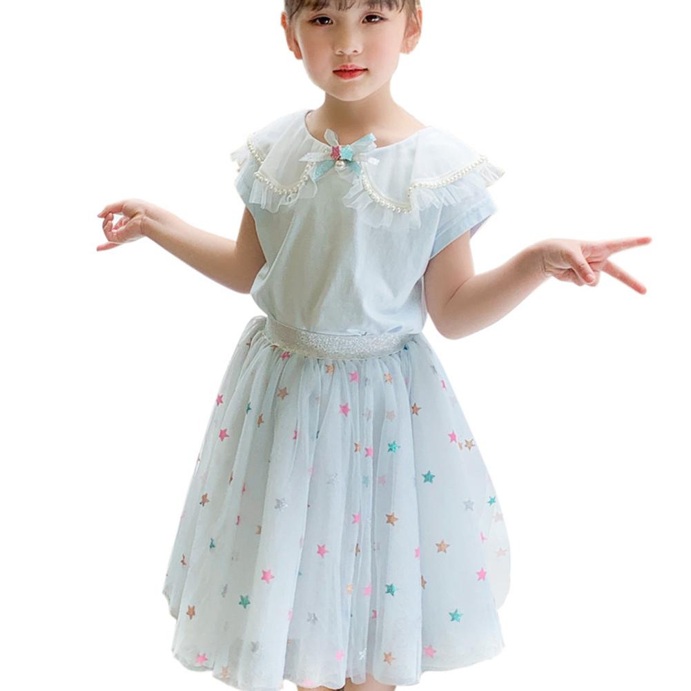 2 Pcs/set Girls Suit Lapel Short-sleeve Top + Star Mesh Skirt for 3-8 Years Old Girls Light blue_140cm