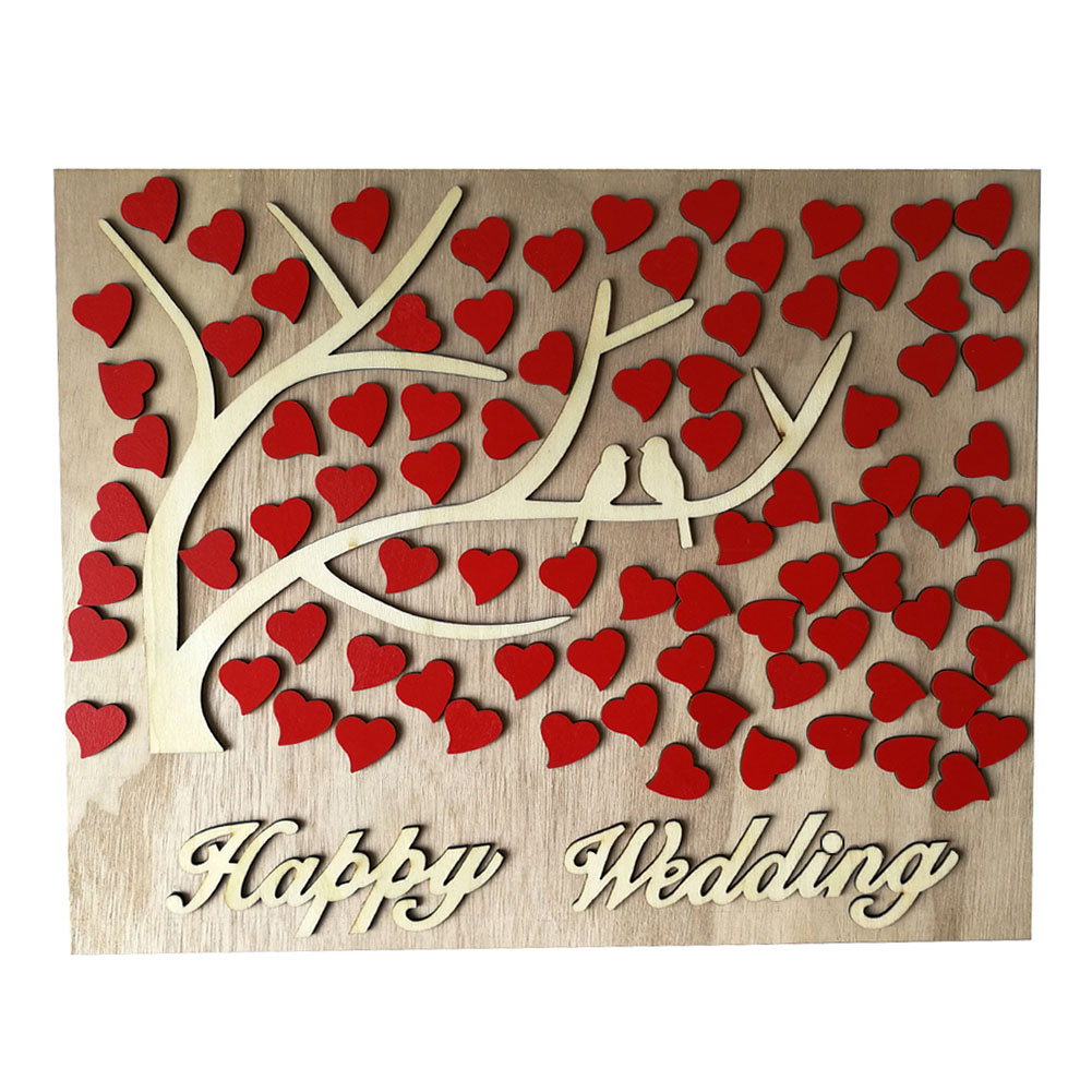Elegant 3D Wooden Heart Tree with 2 Birds Wedding Guest Book Sign Board Wedding Decorations