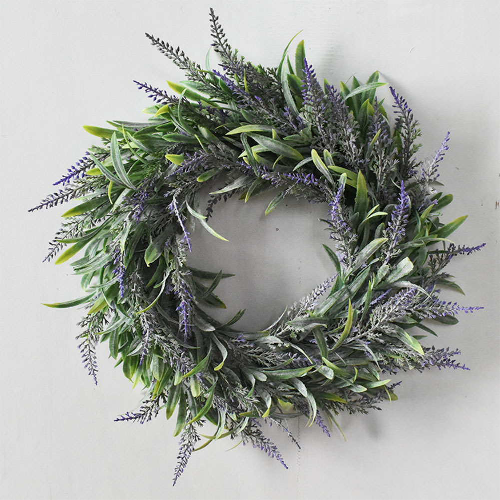 Simulate Lavender Wreath Pretty Garland Floriation Hanging Pendant Decoration for Home Wedding Photo Prop purple