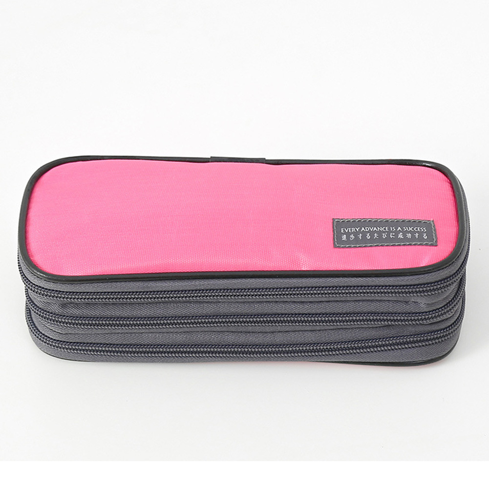 3-Layer Pencil Case Big Capacity Waterproof Zipper Pen Bag Pouch School Stationery Supply Coral pink