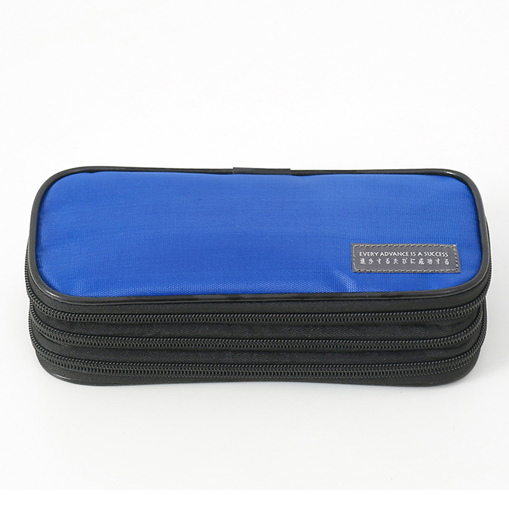 3-Layer Pencil Case Big Capacity Waterproof Zipper Pen Bag Pouch School Stationery Supply Dark blue