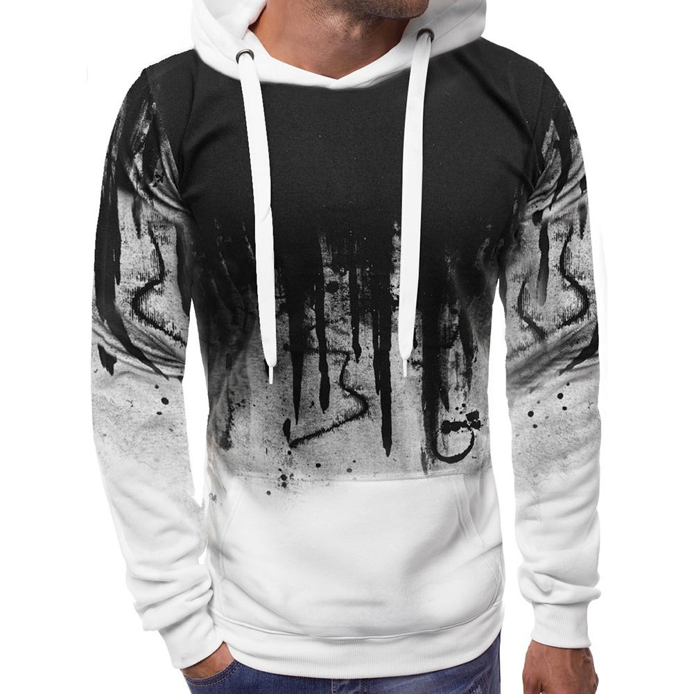 Men Casual Loose Long Sleeve Hoodie Chic Printed Sports Hooded Sweatshirt Pullover white_L