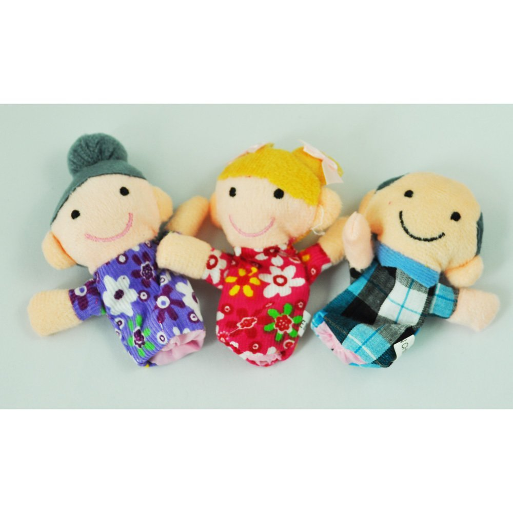 [Indonesia Direct] 6 x Finger Puppets. Happy Family Member Figure Puppet Set. Toddlers and Preschoolers` Favorite