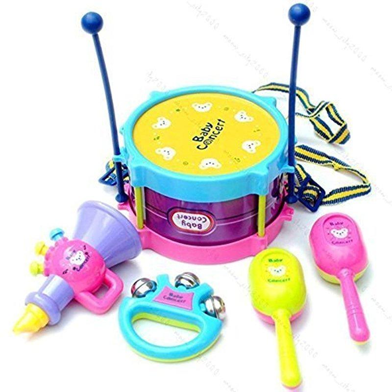 [Indonesia Direct] 5pcs/set Children Jazz Drum Set Educational Instruments Toy