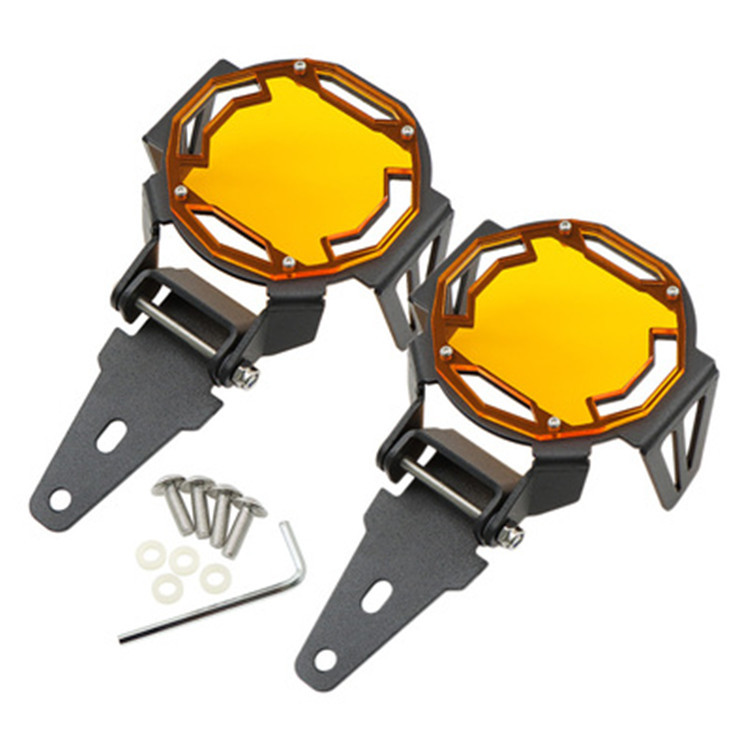 1 Pair Fog Lamp Protective Cover Mesh Lamp Cover Can Flipped For R1200GS F800GS R1250GS F850GS F750GS Orange