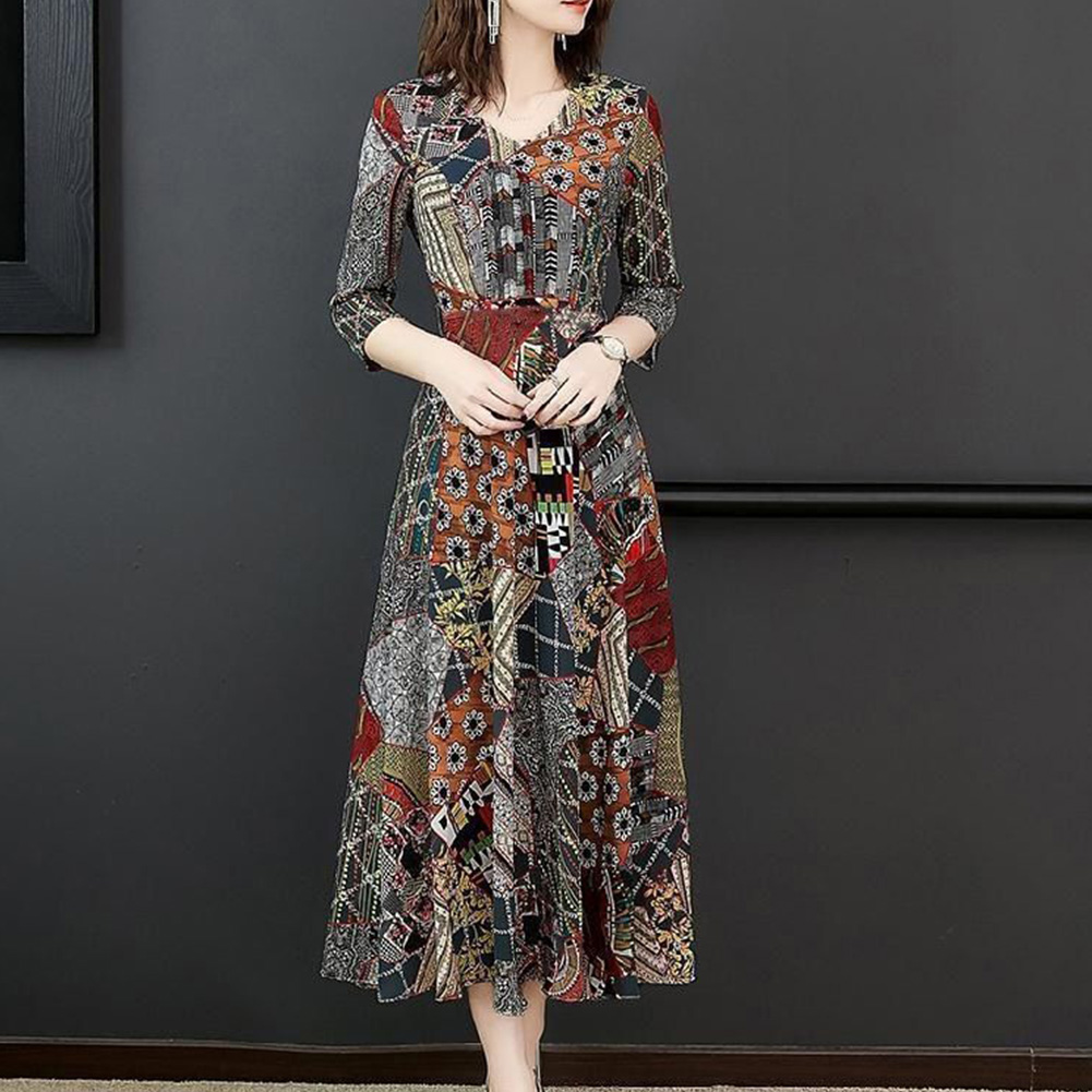 [Indonesia Direct] Women Fashion Lady Printing V-neck Three Quarter Sleeve Dress for Party Vacation 818# picture color_L