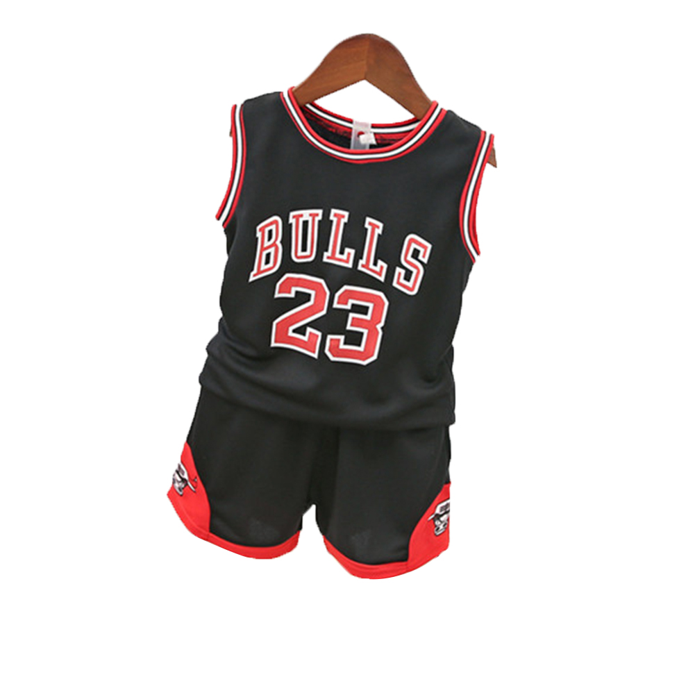 [Indonesia Direct] 2PCS/Set Unisex Children BULLS Letters Printing Sports Basketball Suit black_90cm
