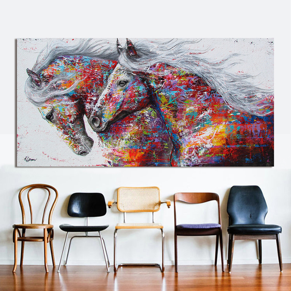 2 Running Horse Wall Oil Painting
