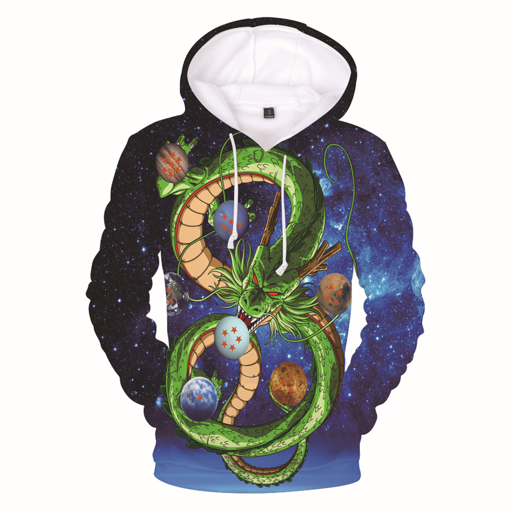 Men Women Fashion Cartoon Digital Printing Fleeces Hooded Sweatshirt Q0113-YH03 blue_M