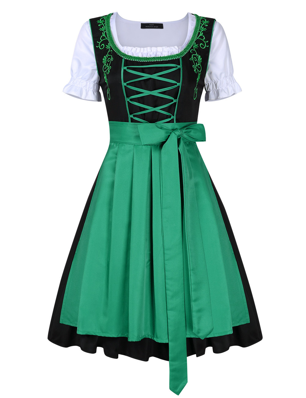 [EU Direct] Women's Classic Dress Three Pieces Suit for German Traditional Oktoberfest Costumes