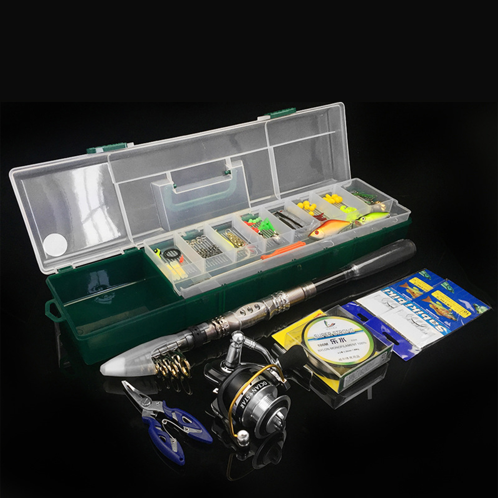 104pcs/pack Telescopic Fishing Rod Fishing Reel Set Lure Bait Fishing Hook Fishing Gear Accessories 1.8m pole set_Sea fishing lure dual-use set box