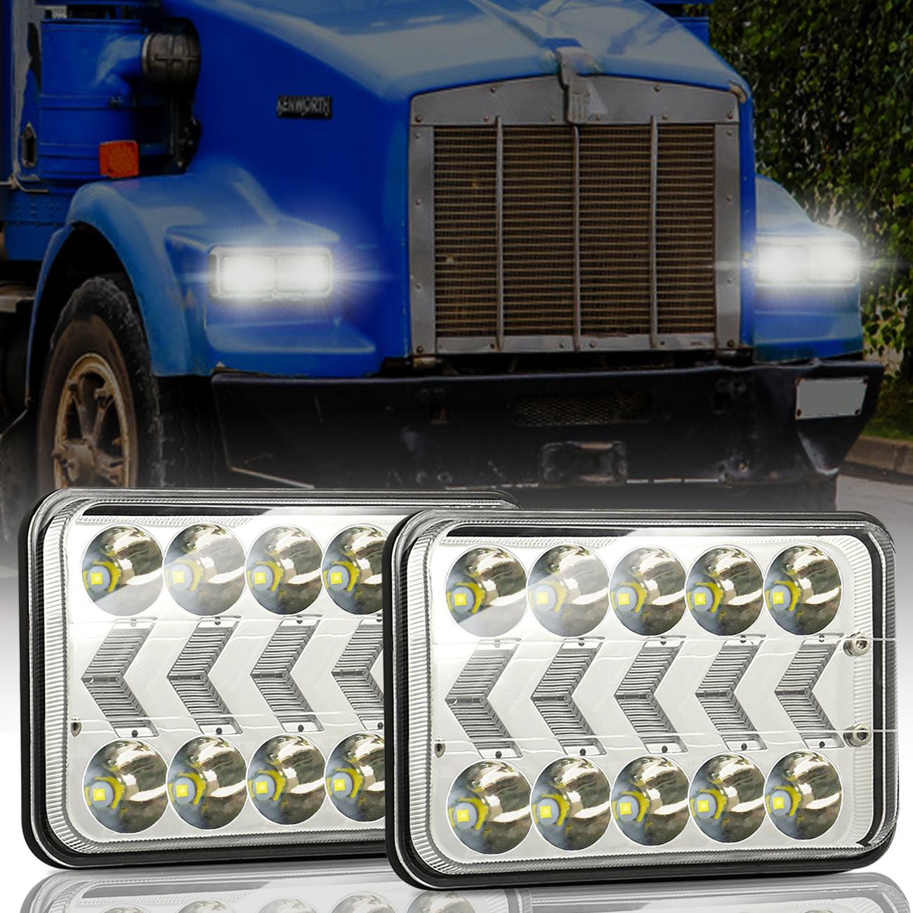 2pcs Aluminum 5 Inches 4x6 Truck Square Lights With Dynamic Sequential Turn Signal With H4 to 3 pin line