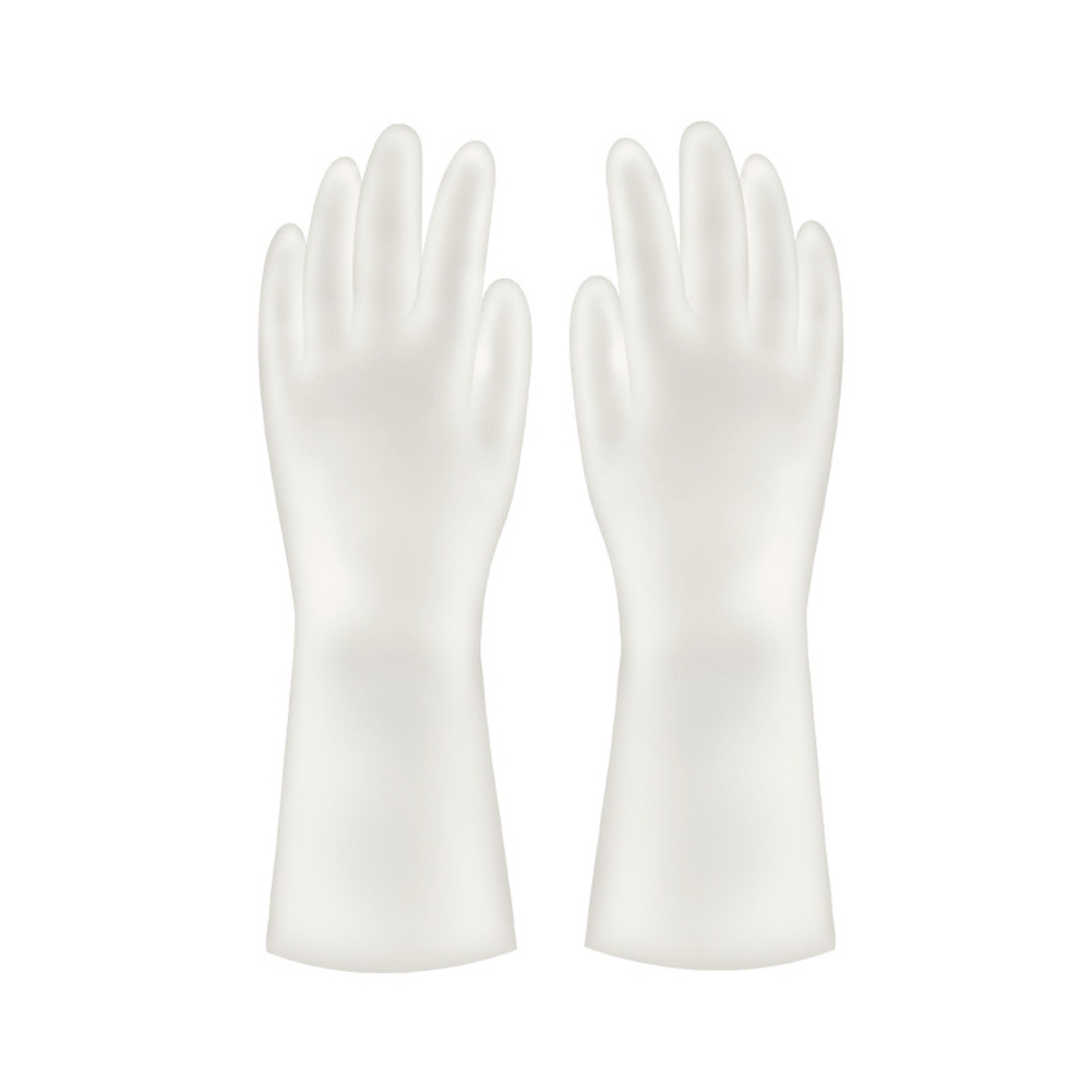 1Pair Kitchen Cleaning Gloves Waterproof Dishwashing Glove Cleaning Rubber Tools Kitchen Accessories white_L