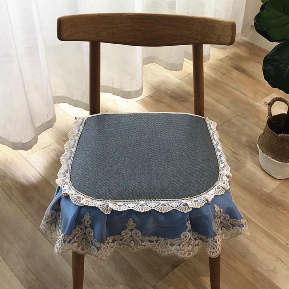 Summer Seat Pad Cover Ice Silk Lace Brim Vine Cool Dining Chair Cushion 40*45cm Light blue_40 * 45cm