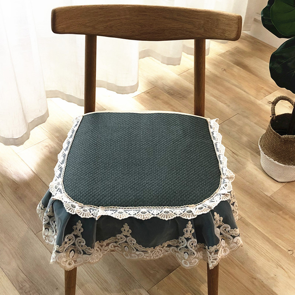 Summer Seat Pad Cover Ice Silk Lace Brim Vine Cool Dining Chair Cushion 40*45cm Dark green_40 * 45cm