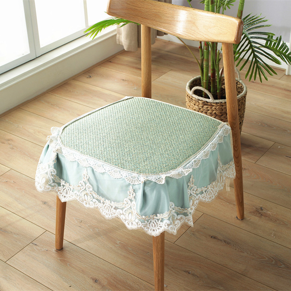 Summer Seat Pad Cover Ice Silk Lace Brim Vine Cool Dining Chair Cushion 40*45cm Emerald_40 * 45cm