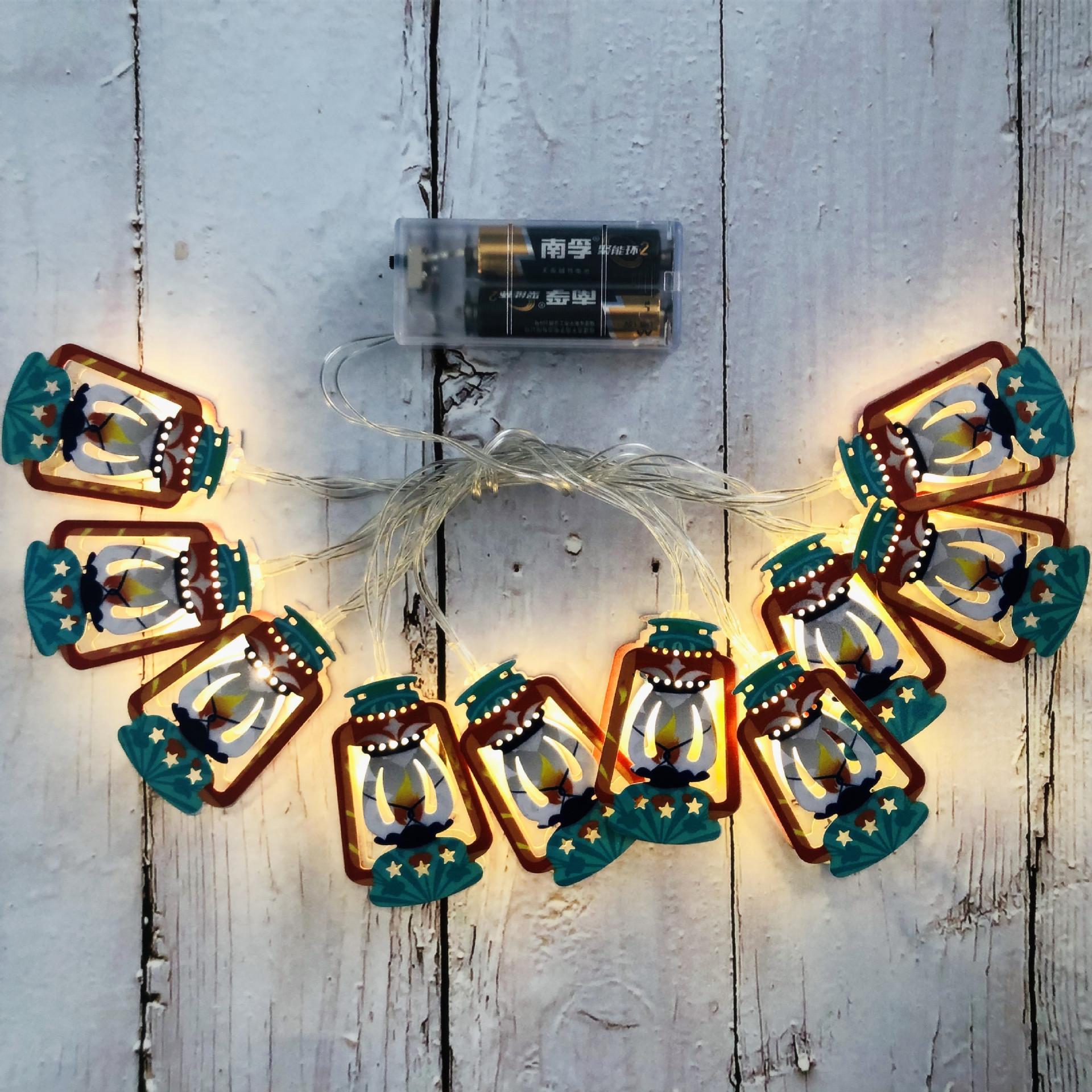 Led Iron Art String Light Arabic Lantern for Ramadan Decoration  Warm White