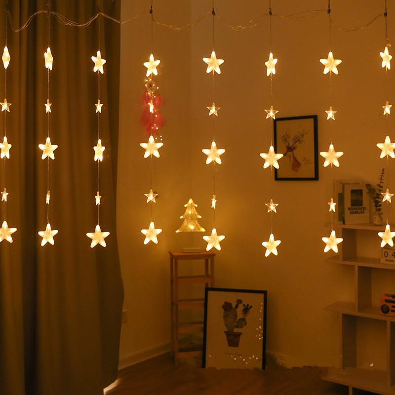 Led String Lights Star Fairy Lights Window Curtain Indoor Tree Decoration Warm White