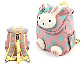 [EU Direct] Pumud 3d Animal Rabbit Anti-lost Baby Backpack Toddler Kids School Bag (Pink)