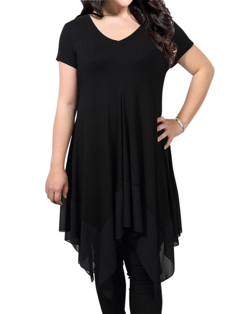 [EU Direct] AMZ PLUS Women Short Sleeve Spliced Asymmetrical Plus Size Tunic Top