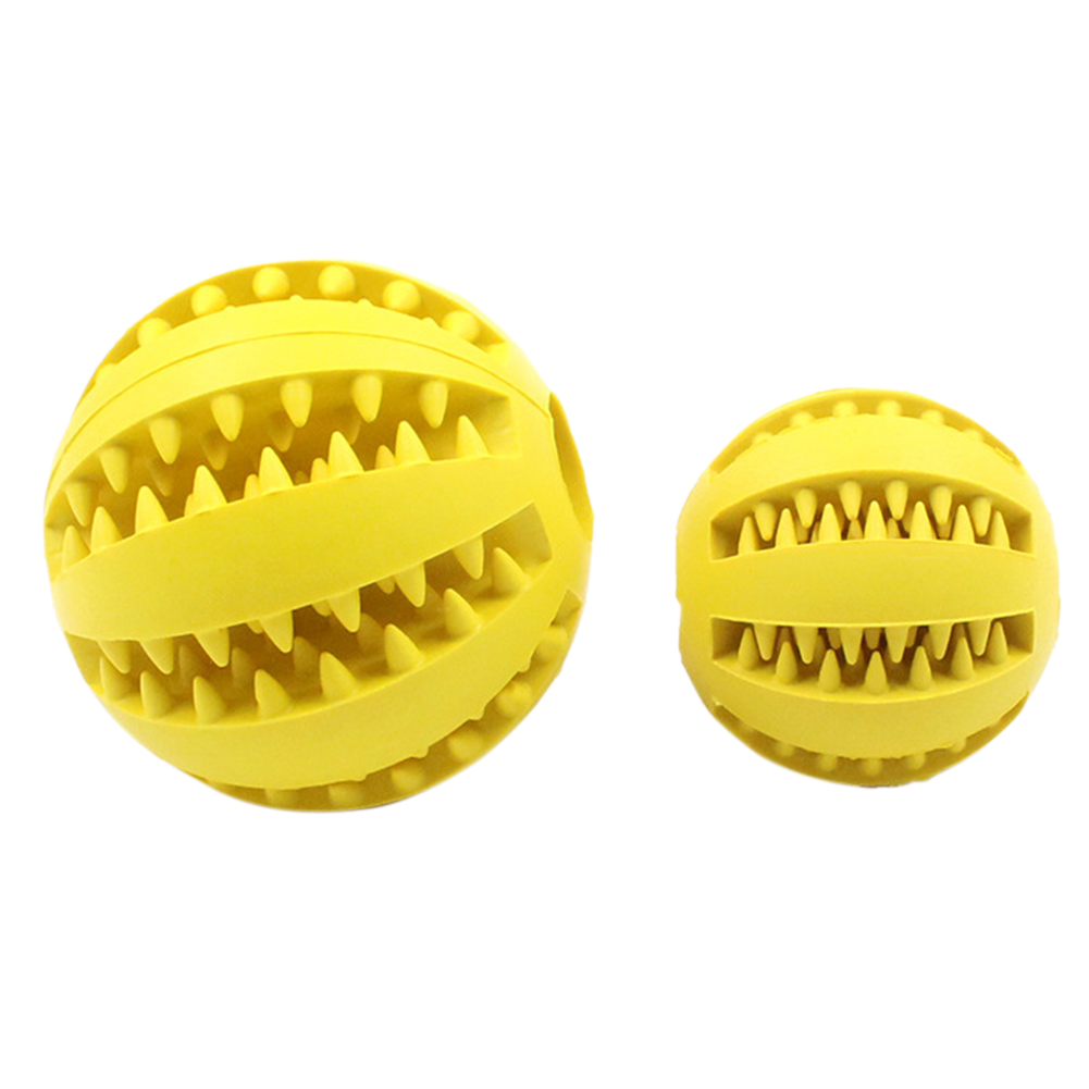 Pet Food Leakage Rubber Ball Interactive Toy for Dog Chew Tooth Cleaning yellow_large