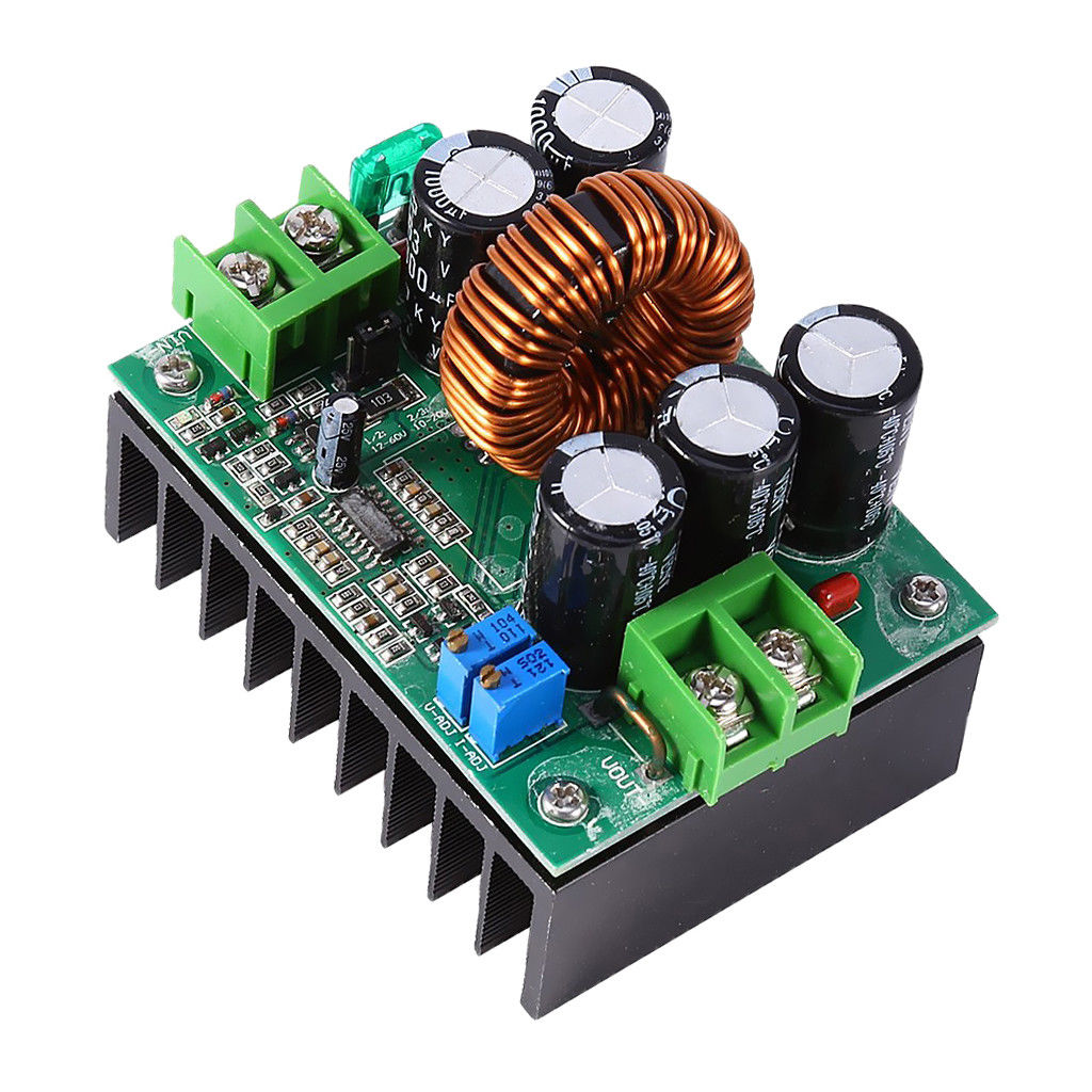 1200W 20A CC/CV Boost Converter DC 8V-60V to 12V-80V Volt Step-up Power Module(Green Board) green
