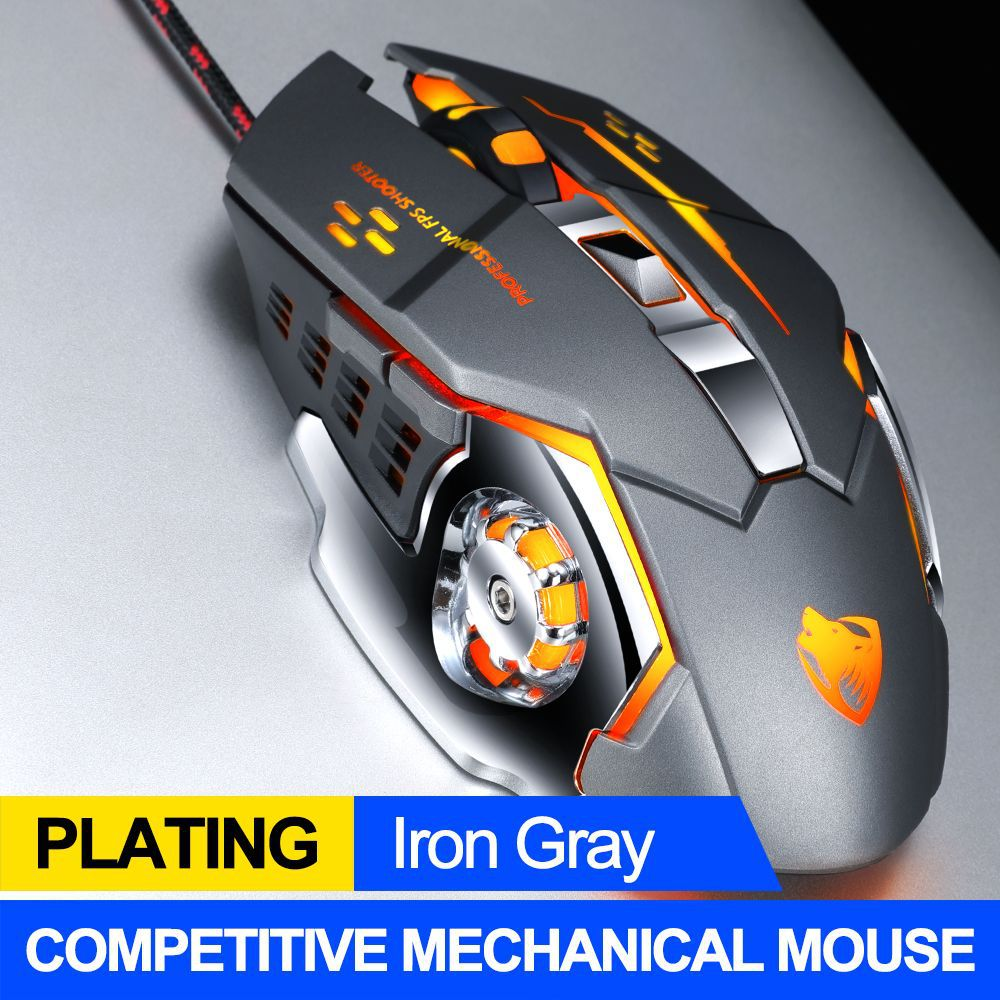 Computer Mouse English Edition Mechanical Game Wired Mouse USB Mouse For Desktop Computer Iron gray