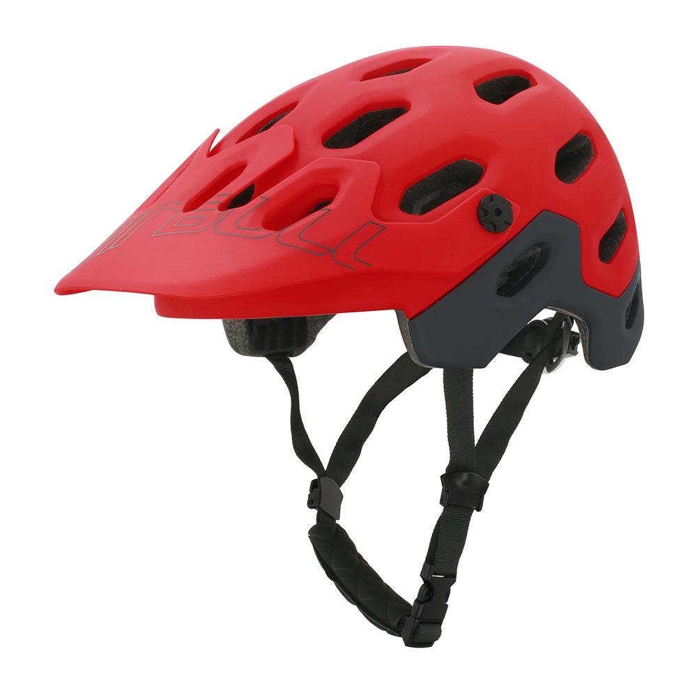 crash helmet MTB Road Cycling Helmet Ultralight Breathable Bike Riding Helmet Head Adjustable Visor Helmet red_M (54-58CM)