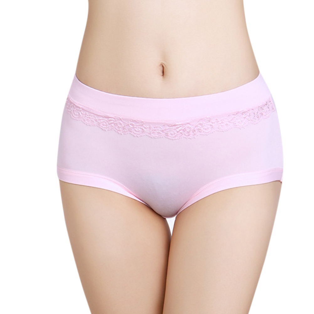 Women Breathable Solid Color Medium Waist Briefs No Trace Triangle Underpants  Light pink_Free szie