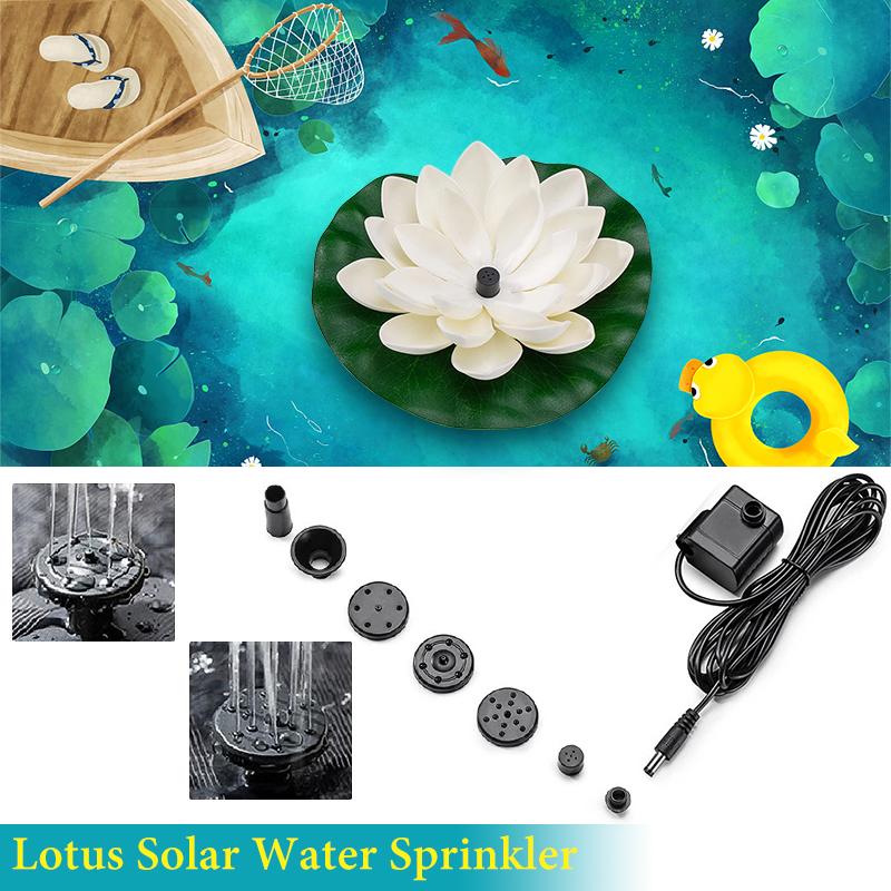 360 Degrees Lotus Solar Water Sprinkler  System Water Sprayer For Garden Lawn Courtyard white