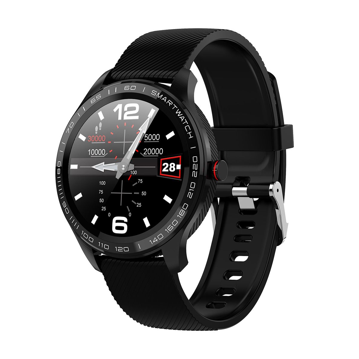 L9 Bracelet Full Round Screen Multi-Sport Heart Rate Sleep Monitoring Offline Payment Bracelet black
