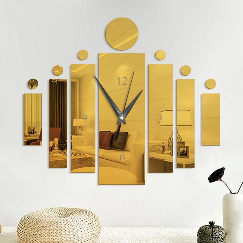 Elegant Acrylic Mirror-Surface Noiseless Clock Wall Sticker Set DIY Art Mural Home Decoration Wall Clock  Golden