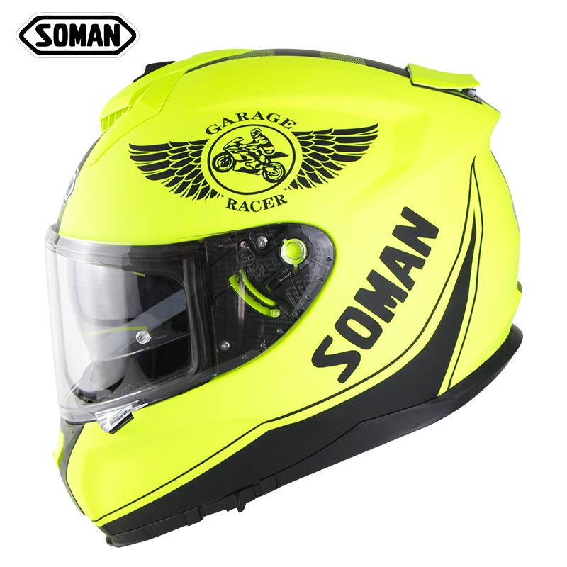 Motorcycle Helmet Riding Racing Helmet Men Women Outdoor Riding Double Lens Full Face Helmet Ece Standard Fluorescent Yellow_L