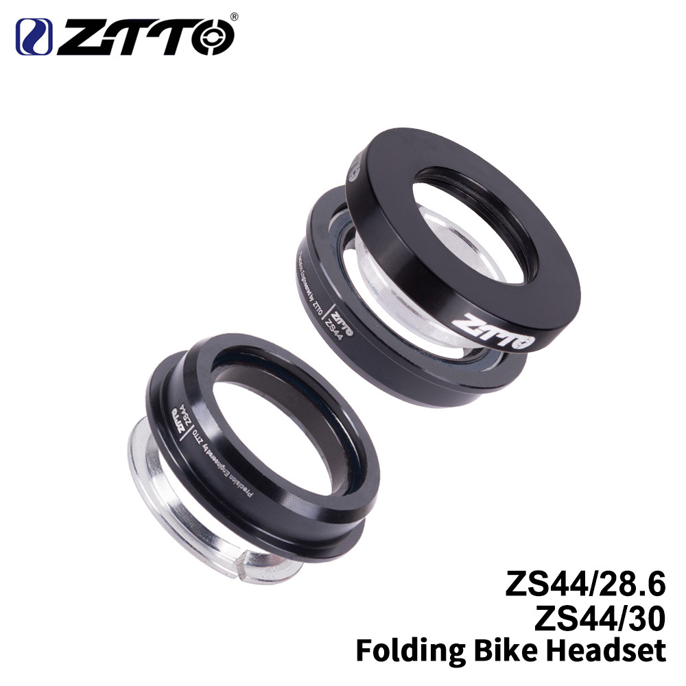 ZTTO 44mm Folding Bike Headset Steering Straight Tube Fork CNC Mountain Bike Low Profile Semi-integrated Bicycle Bearing black