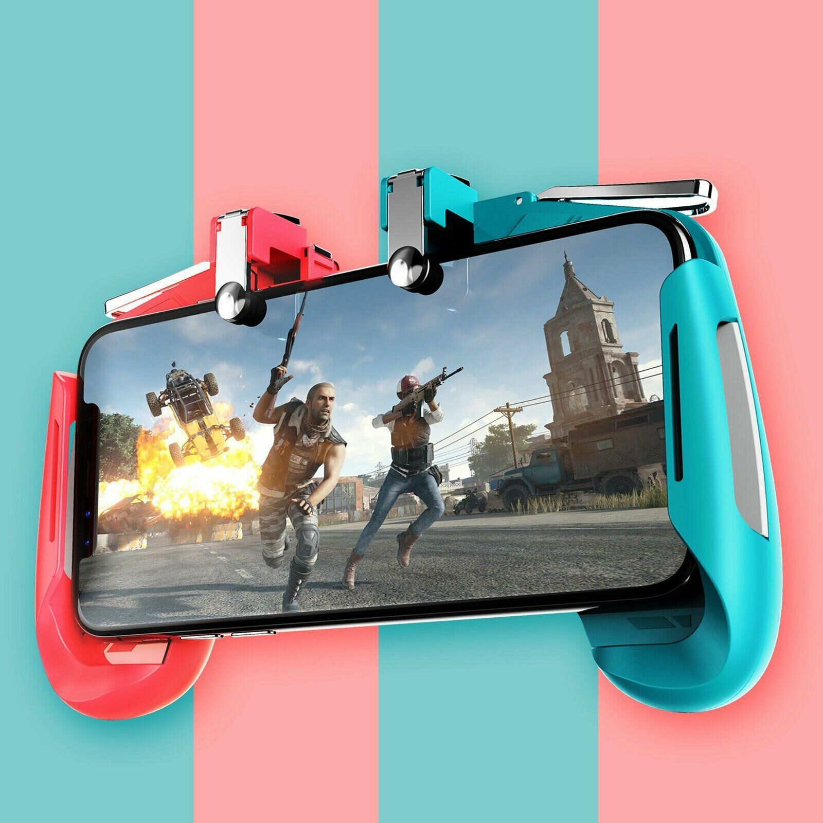 Mobile Gamepad Game Controller Trigger Aim Button L1R1 Shooter Joystick for PUBG Red and blue