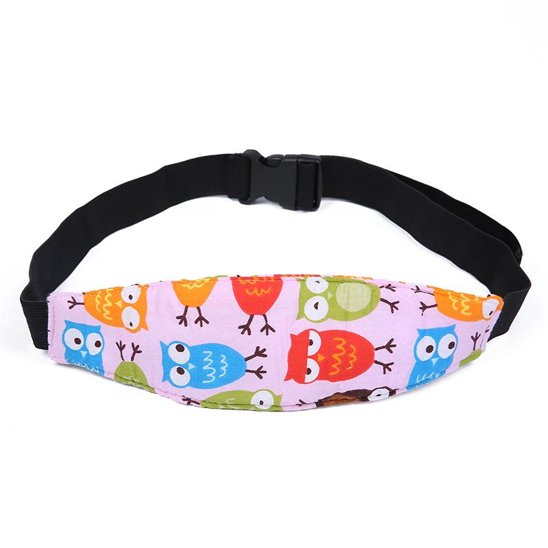 Car Safety Seat Sleep Positioner Infants Baby Head Support Pram Stroller Fastening Belt Adjustable Pink Owl 16