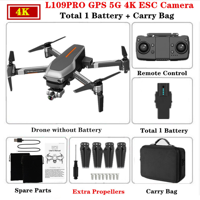 L109PRO GPS Drone 4K Quadcopter Mechanical Two-axis Anti-shake 5G WiFi FPV HD ESC Camera Brushless Helicopter 25mins Flight Time Single battery_Carrying case