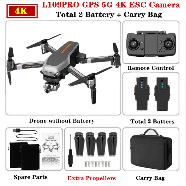 L109PRO GPS Drone 4K Quadcopter Mechanical Two-axis Anti-shake 5G WiFi FPV HD ESC Camera Brushless Helicopter 25mins Flight Time Dual battery_Carrying case