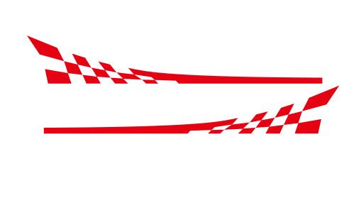 Racing Flag Vinyl Decal Car Styling Door Side Skirt Stripes Auto Body Decor Sticker red