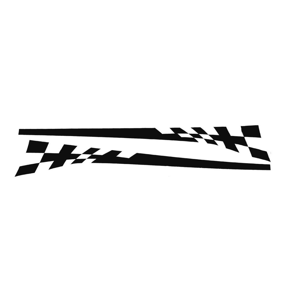 Racing Flag Vinyl Decal Car Styling Door Side Skirt Stripes Auto Body Decor Sticker black