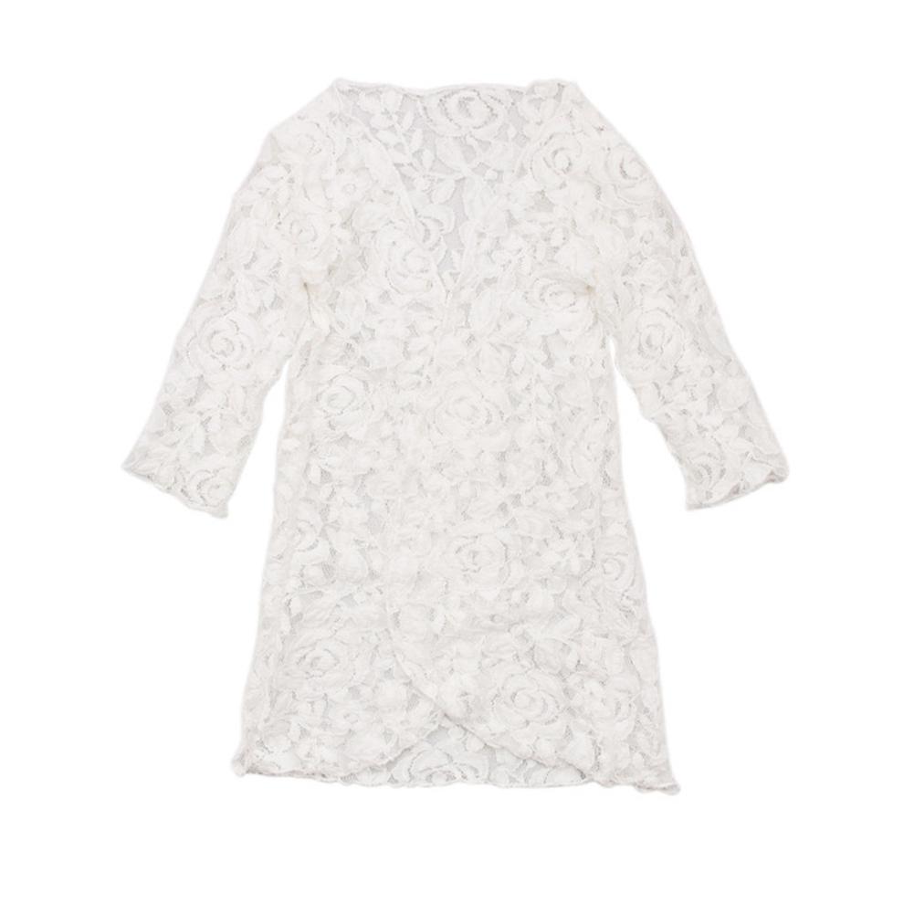 Children Girl White Flower Lace Swimsuit Suit Bikini Overall Long Sleeve Prevent Sun Clothing
