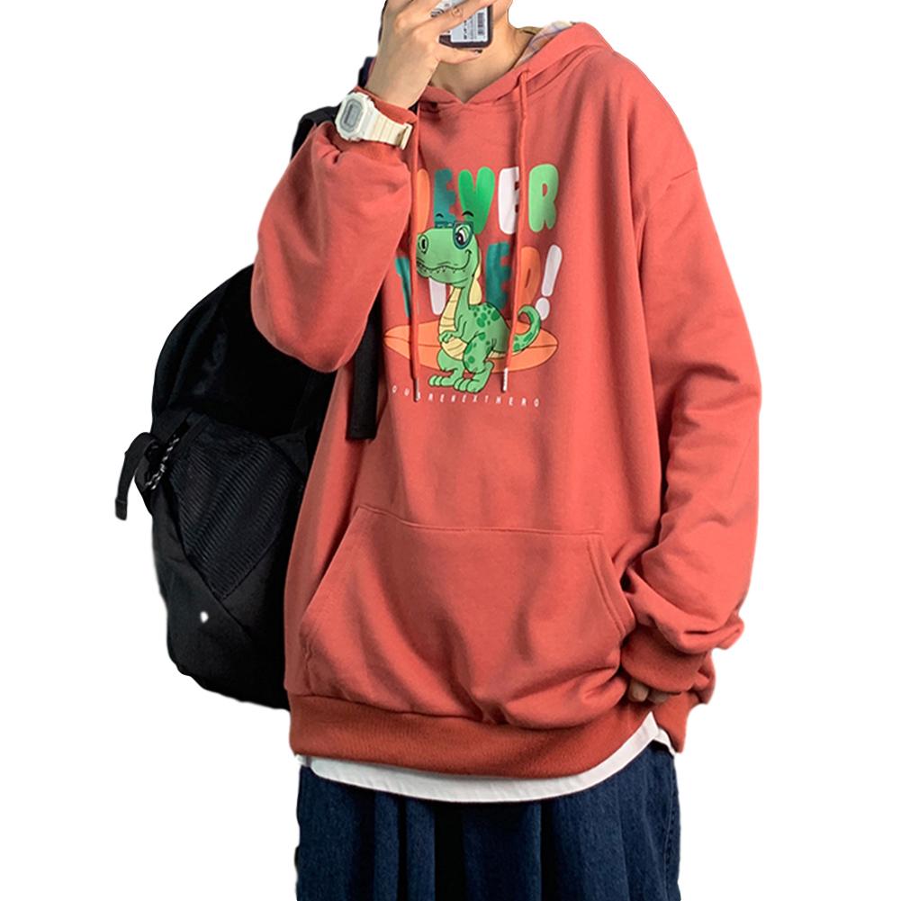 Men's Hoodie Loose Thin Animal Printed Long-sleeve Hooded Sweater Brick red _M