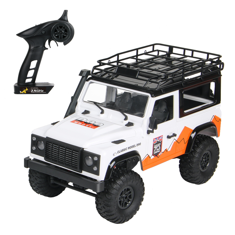 MN-99 2.4G 1/12 4WD RTR Crawler RC Car For Land Rover 70 Anniversary Edition Vehicle Model white_Double battery