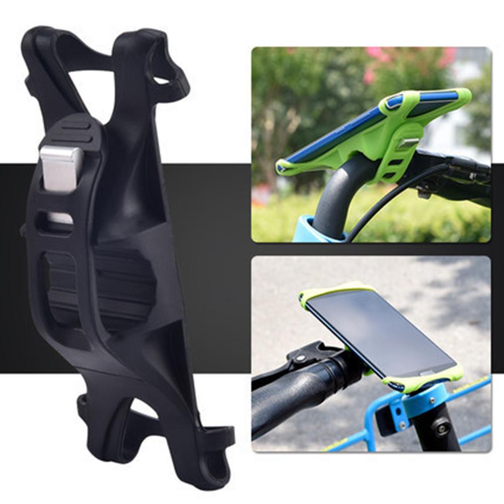 Bike Phone Holder Silicone Adjustable Pull Button Anti-shock Mount Bracket  black