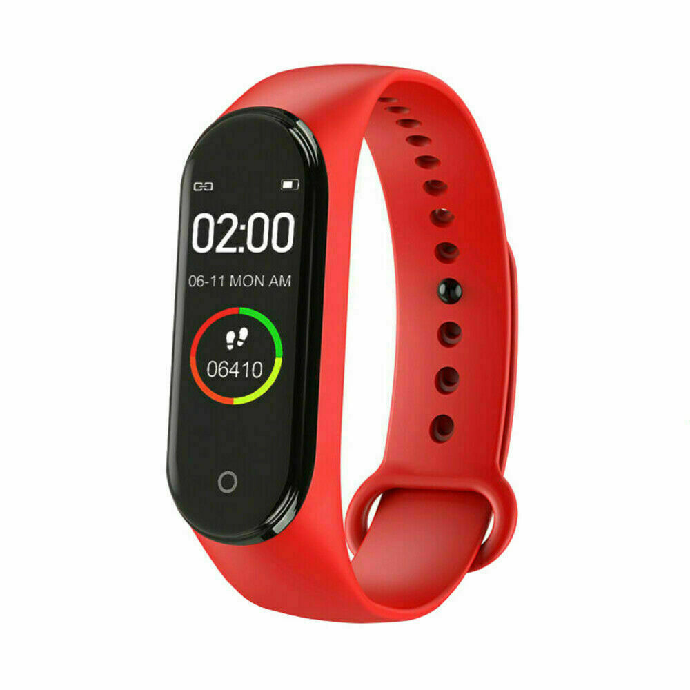 M4  Smart  Watch Heart Rate Blood Pressure Monitor Sport Band Wristband Tracker Red