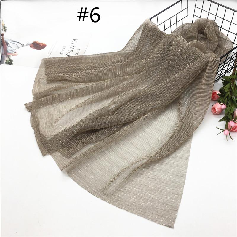 Women Pleat Solid Color Thin Gauze Scarf Muslim Shawl 6#_180cm