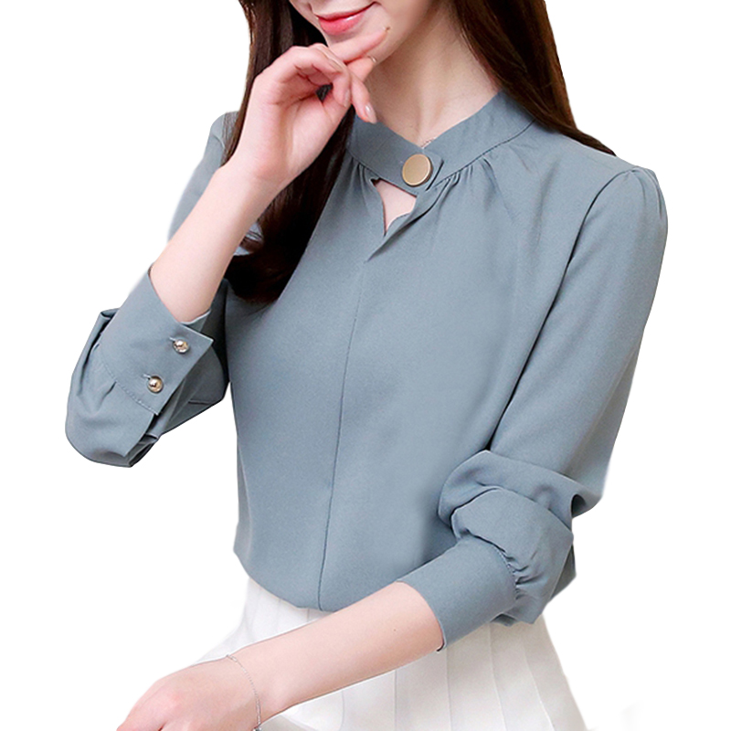 Women Shirt Spring Autumn Loose Stand Collar Shirt Sweet Style Long Sleeve Chiffon Shirt Gray blue_L