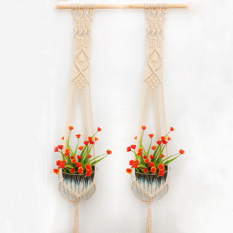 Macrame Plant Hanger Indoor Outdoor Hand Knit Hanging Planter Wood Stick Basket Wall Art G2002 (a stick  with 2 baskets)